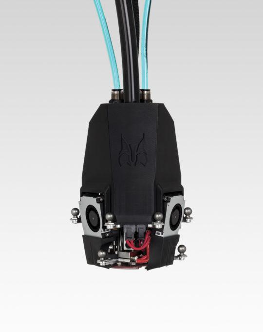 Tête outil filament triple extrusion vue de face